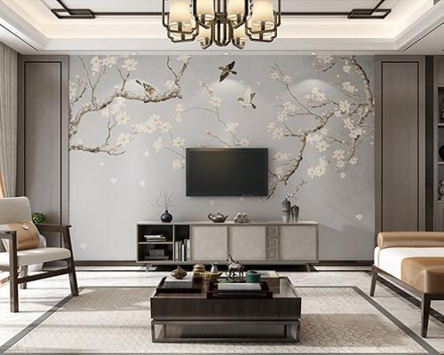 客厅房顶贴壁纸效果图