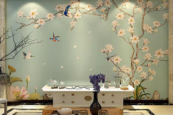 佳木斯 沙发背景墙壁纸 厂家3d壁画的绘制材料主要是依据画的底质图片