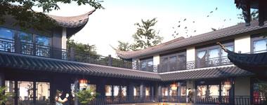 鹤壁鸟瞰独栋别墅效果图亮化